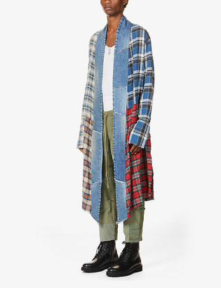 Greg Lauren Patchwork long cotton jacket