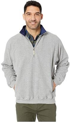 Straight Down Fairway Fleece Zip (Light Charcoal/Navy) Men's Clothing