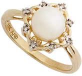 Fine Jewellery 10K Yellow Gold Diamond And Freshwater Pearl Ring