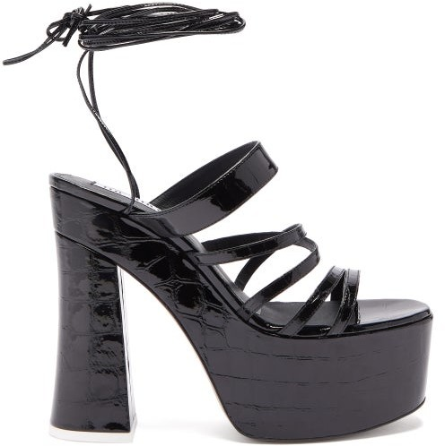 92d84a06c51 The Greta Crocodile Embossed Leather Platform Sandals - Womens - Black