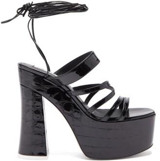 ATTICO The Greta Crocodile-embossed Leather Platform Sandals - Womens - Black