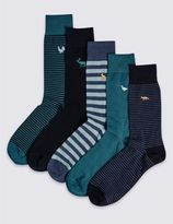 Marks and Spencer 5 Pairs of Cool & FreshfeetTM Embroidery Socks