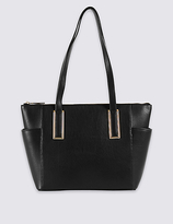 M&S Collection Faux Leather Metal Tab Shopper Bag