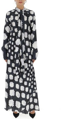 Marni Graphic Printed Pussybow Maxi Dress