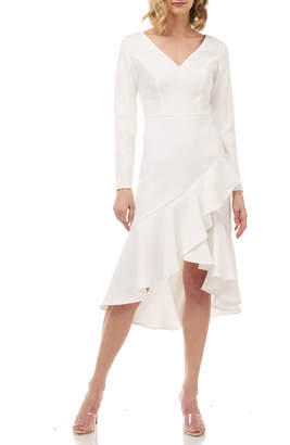 Kay Unger New York Parker High-Low Long-Sleeve Stretch Crepe Dress