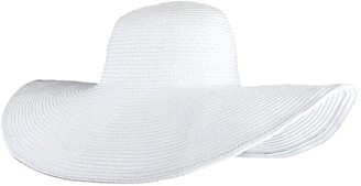 CHIC DIARY Women Summer Big Brim Beach Hat Floppy Straw Sun Hat Cap UPF 50+ White