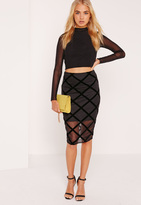 Missguided Flocked Grid Pattern Midi Skirt Black