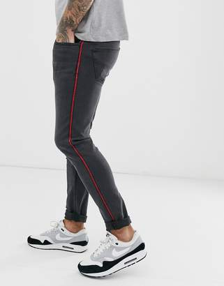ONLY & SONS slim fit side stripe jeans in grey