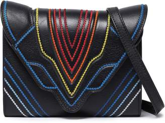 Elena Ghisellini Felina Embroidered Textured-leather Shoulder Bag