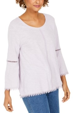 Style&Co. Style & Co Crochet-Trim Bell-Sleeve Top, In Regular and Petite, Created for Macy's