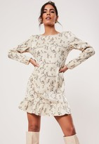 Missguided Petite Nude Cowl Back Floral Print Mini Dress