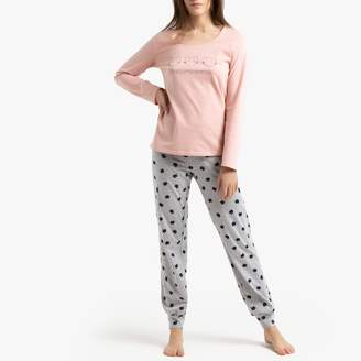 La Redoute Collections Cotton Embroidered Cat Pyjamas with Long Sleeves