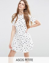 Asos Short Sleeve Ruffle Hem Smock Dress in Polka Dot