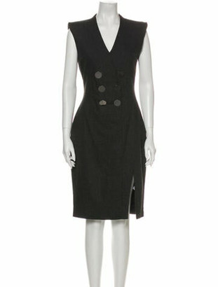 Altuzarra V-Neck Midi Length Dress Grey