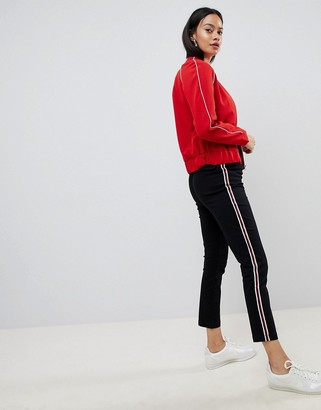 Asos DESIGN cigarette trousers in black with side stripe