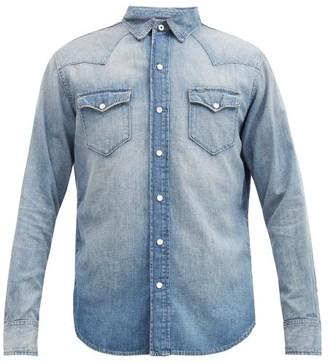 Ralph Lauren Purple Label Faded-denim Western Shirt - Light Blue