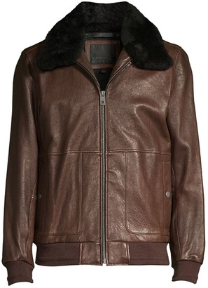 Andrew Marc Cuthbert Shearling-Trim Leather Aviator Jacket