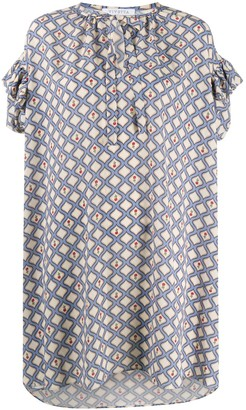 VIVETTA Geometric-Print Ruffled-Sleeve Dress
