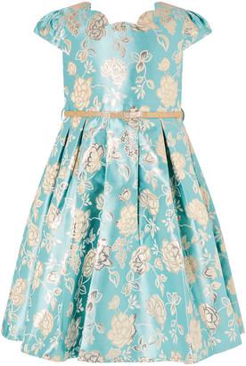 Monsoon Kimberly Rose Jacquard Dress Blue