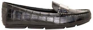 Calvin Klein Lisette Black Croc Flat Shoes