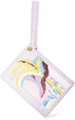 Emilio Pucci Appliqued Printed Leather Luggage Tag