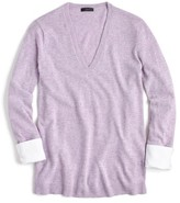 J.Crew Women's V-Neck Sweater With Shirt Cuffs