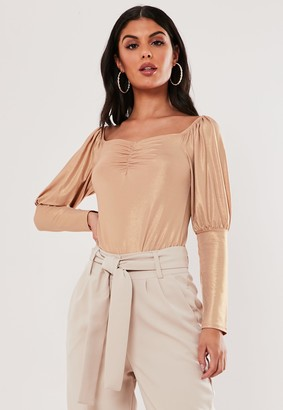 Missguided Blush Shimmer Sweetheart Neck Milkmaid Top