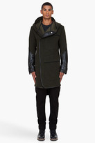 DENIS GAGNON Olive Hooded Leather Trimmed Wool Coat
