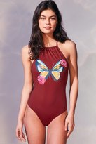 Out From Under Printed High Neck One-Piece Swimsuit