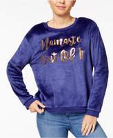 Hybrid Juniors' Namaste Out of It Embellished Sweatshirt