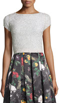 Alice + Olivia Short-Sleeve Embellished Crop Top, Off White