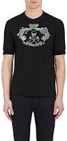 Alexander McQueen Men's Skull-Crest-Graphic Cotton Henley-BLACK