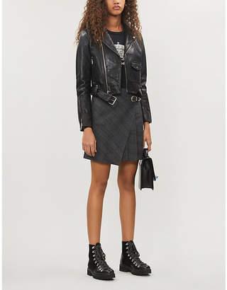 Maje Brooky cropped shoulder-epaulettes leather jacket