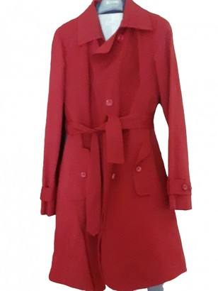 Pinko Burgundy Cotton Trench Coat for Women