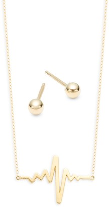 Saks Fifth Avenue 14K Yellow Gold Heartbeat Pendant Necklace & Ball Stud Earring Set