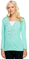 As Is Quacker Factory V-neck Sparkle Bracelet Sleeve Cardigan