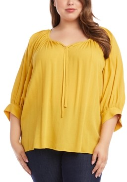 Karen Kane Plus Size Blouson-Sleeve Peasant Top