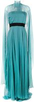 Alberta Ferretti sheer caped evening gown