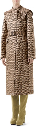 Gucci GG Rhombus Trench Coat with Removable Cape