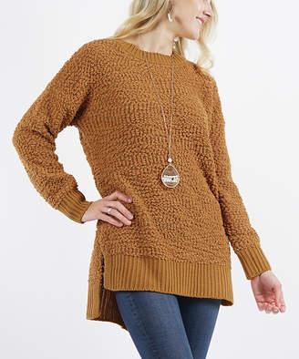 Lydiane Women's Pullover Sweaters COFFEE - Coffee Crewneck Popcorn-Knit Side-Slit Sweater - Women
