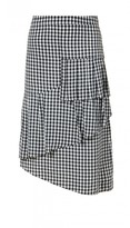 Tibi Viscose Gingham Ruffle Skirt