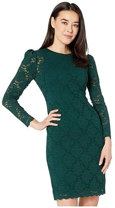 Lauren Ralph Lauren Petite Scalloped Lace Dress (Dark Fern) Women's Clothing
