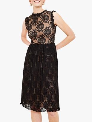 Oasis Lace Pleated Midi Dress, Black