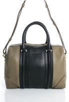 Givenchy Taupe Black Leather Gold Tone Double Handle Lucrezia Satchel Handbag