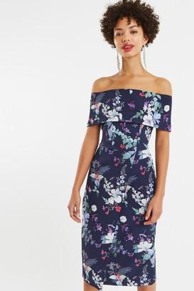 Oasis Multi Blue Bloom Bardot Midi Pencil Dress