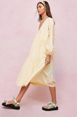 Nasty Gal Womens Striped Tiered Midi Smock Dress - Yellow - 12