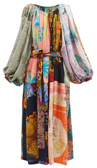 Thumbnail for your product : RIANNA + NINA Patchwork Gathered-neck Vintage-silk Dress - Multi