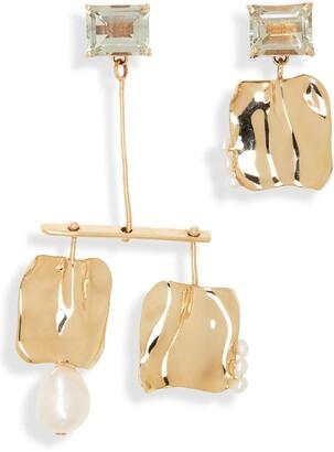 FARIS Badoula Cultured Pearl & Green Amethyst Gemdrop Earrings
