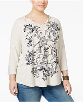 Style&Co. Style & Co. Plus Size Embroidered Peasant Top, Only at Macy's