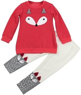 Fox Piece Suit, Flank Child Kid Set Clothes Long-Sleeved Sweatershirt Top+Pants Outfits